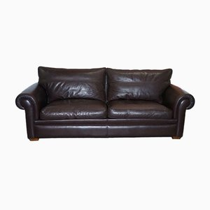 Garrick 3-Seater Brown Leather Sofa from Duresta
