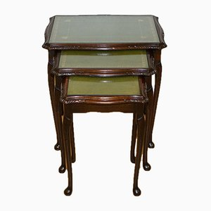 Queen Anne Style Hardwood Nesting Tables with Green Embossed Leather Top