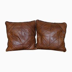 Cuscini grandi Cordoba in pelle e tessuto di Tetrad, set di 2