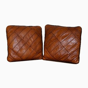 Tetrad Cordoba Leather and Fabric Medium Scatter Cushions Feather Filled