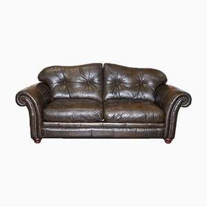 Brown Leather 2-Seater Chesterfield Sofa with Scroll Arms from Tetrad