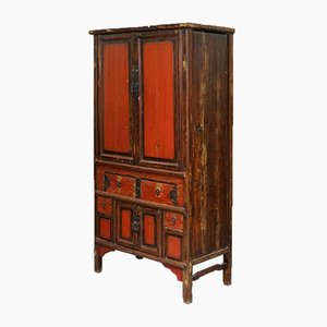 Qing Dynasty 19th-Century Brown Lacquer Cabinet with Original Finish