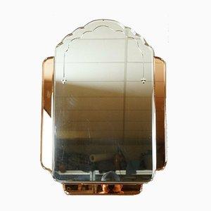 Art Deco Amber & Peach Glass Bevelled Wall Mirror, 1930s