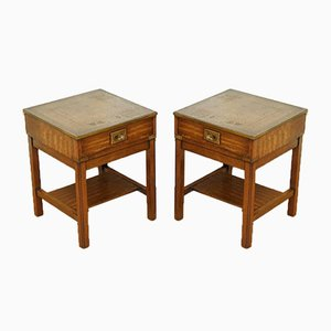 Vintage Military Campaign Bedside Tables with Brown Leather Top, Set of 2