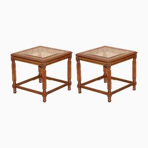 Holz Beistelltische mit Glasplatte, 2er Set