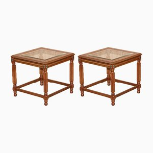 Wooden Side Tables with Glass Top, Set of 2