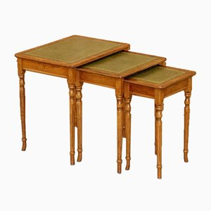 Yew Wood & Gold Leaf Embossed Nesting Tables with Green Leather Tops, Set of 3