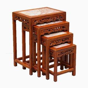 Tables Gigognes Style Chinois en Bois Dur avec Plateau en Marbre, Set de 4