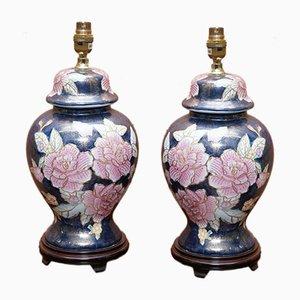 Pied de Lampe Bleu Marine avec Oeuvre Florale
