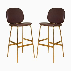 Modern Burgundy Faux Leather Barstools with Gold Legs, Set of 2