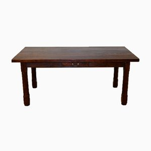 Rustic Walnut Farmhouse Table with 2 Drawers
