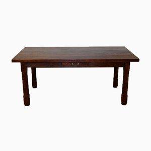 Table de Ferme Rustique en Noyer avec 2 Tiroirs