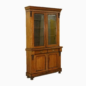 Walnut Bookcase or Display Cabinet with Glazed Doors