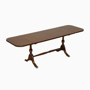 Vintage Hardwood Coffee Table with Drop Leaf on Paw Feet