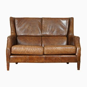 Vintage Distressed Brown Halo Leather Two-Seater Sofa