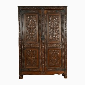 Heavily Carved Oak Estate Housekeepers Hall Cabinet