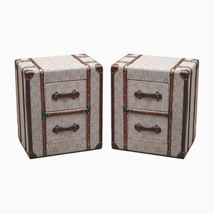 Grey Fabric Bedside Tables with Wood & Leather Detail in the Style of Timothy Oulton