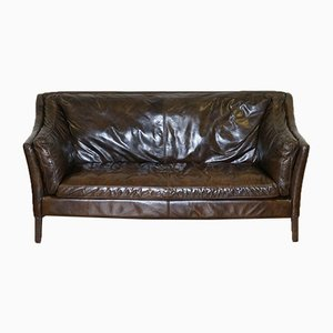 Compact Leather Conker Brown Sofa from Halo