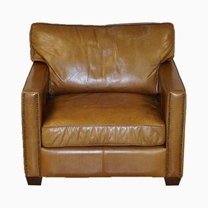 Large Viscount William Armchair in Halo Brown Leather from Timothy Oulton