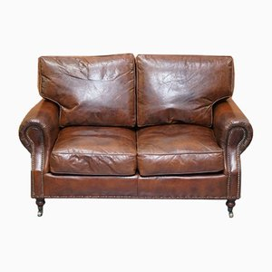 Aged Cigar Brown Leather 2-Seater Balmoral Sofa from Timothy Oulton