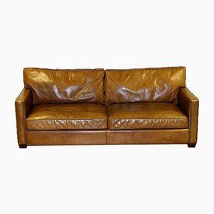 Viscount 3-Seater Tan Leather Sofa by Timothy Oulton for Halo