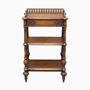 Whatnot Side Table with Leather Inlay, Shelves and Top from Theodore Alexander