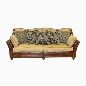 Leather and Fabric Sofa with New Duck Down Throw Pillows in the Style of Tetrad