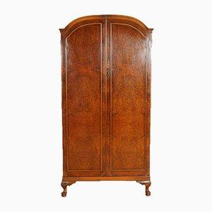 Vintage Burr Walnut Two Door Wardrobe with Shelves