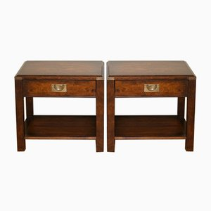 Large Military Campaign Bedside Tables, Set of 2