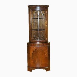 Vintage Hardwood Corner Display Cabinet, 1950s