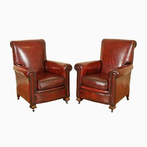 Victorian Hand-Dyed Leather Gentleman's Armchairs, Set of 2