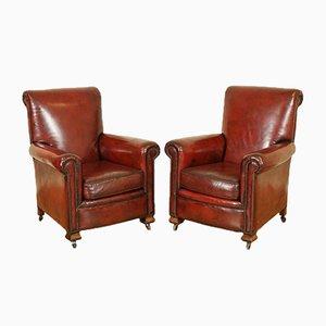 Viktorianische Gentleman's Armlehnstühle aus handgefärbtem Leder, 2er Set