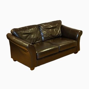 Brown Leather Two-Seater Sofa Bed from Marks & Spencer