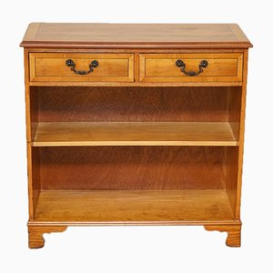 Vintage Burr Yew Wood Two-Drawer Open Bookcase or Sideboard