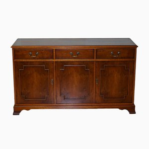 English Burr Yew Wood Triple Drawer Sideboard or Cupboard from Bradley Furniture