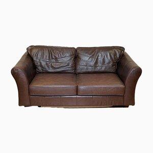 Braunes 2-Sitzer Abbey Schlafsofa aus Leder von Marks & Spencer
