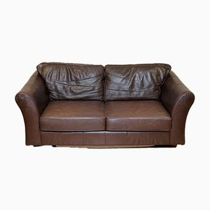 Brown Leather Two-Seater Abbey Sofa Bed from Marks & Spencer