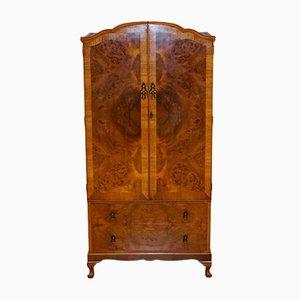 Vintage Kleiderschrank aus Nusswurzelholz mit 2 Türen und Queen Anne Beinen