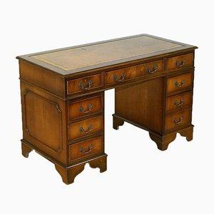 Vintage Hardwood Pedestal Desk with Gold Embossed Brown Leather Top