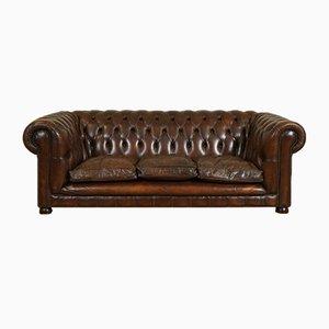 Braunes Vintage Drei-Sitzer Leder Chesterfield Sofa