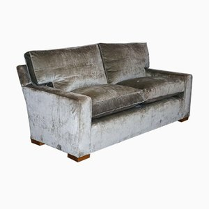 Silbernes Sofa aus Samtfedern mit quadratischen Armlehnen von George Smith