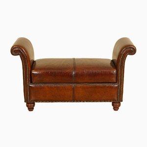Handgefärbter Whiskey Brown Leder Ottoman oder Bank mit Stauraum
