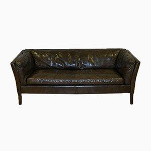 Medium Conker Brown Halo Leather Three-Seater Groucho Sofa