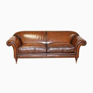 Vintage Gentleman's Club Sofa aus handgefärbtem Leder in Whiskeybraun