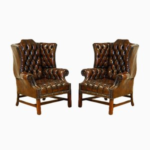 Georgian H-Framed Chesterfield Wingback Chairs, Set of 2
