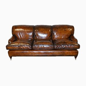 Feather-Filled Three-Seater Sofa in the Style of Howard & Sons
