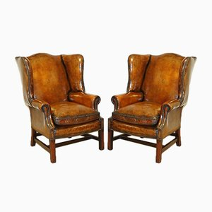 Vintage Hand-Dyed Wingback Chairs with Feather Filling, Set of 2