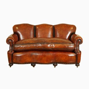 Edwardian Hand-Dyed Whisky Brown Leather Sofa with Feather Filled Cushion