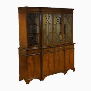 Hardwood Breakfront Display Cabinet with Lock
