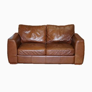 Vintage Brown Halo Leather Two-Seater Sofa